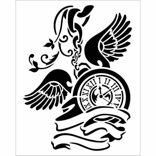 Thick Stencil 20x25cm, Stamperia, Pendulum clock with wings