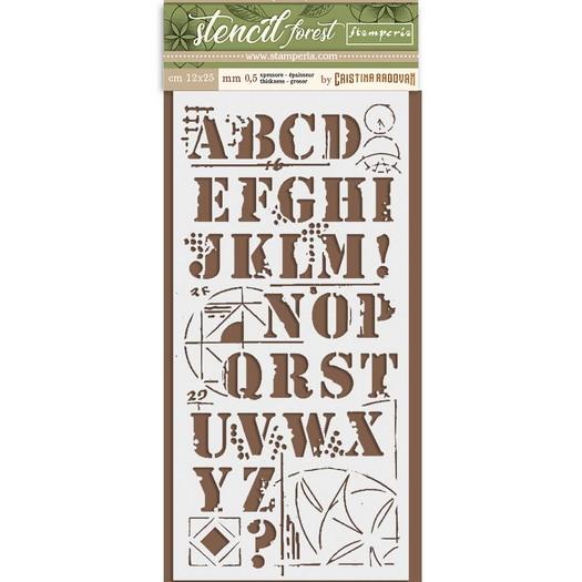 Thick Stencil 12x25cm, Stamperia, Forest Alphabet