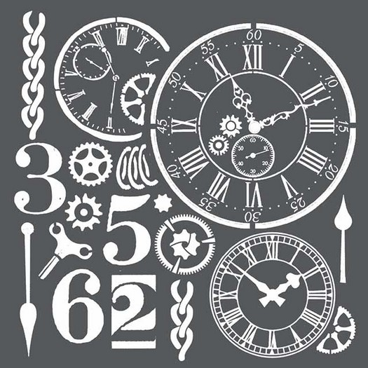 Thick Stencil 18x18cm, Watches & Numbers