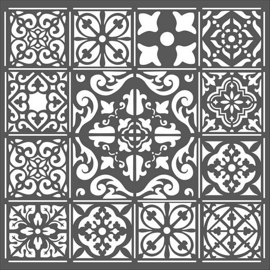 Thick Stencil 18x18cm, Azulejos tiles