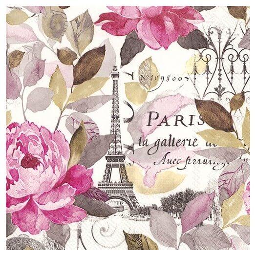Χαρτοπετσέτα για Decoupage,  Jardin Paris pink, 1τεμ.