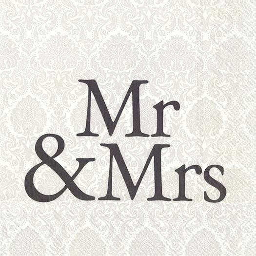 Χαρτοπετσέτα για decoupage, Mr & mrs black