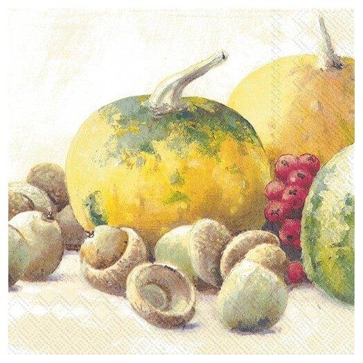 Χαρτοπετσέτα για decoupage, Pumpkin and acorns cream