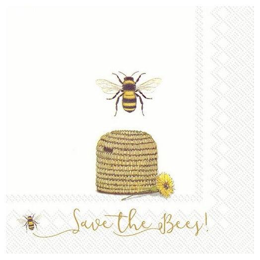 Χαρτοπετσέτα για Decoupage, Save the bees white, 1τεμ.