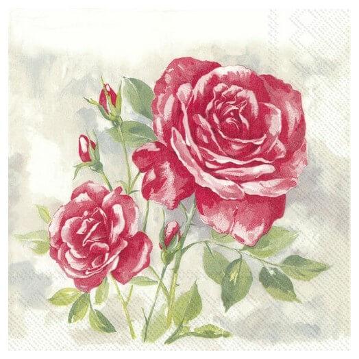 Χαρτοπετσέτα για Decoupage,  Rose boutique red, 1τεμ.