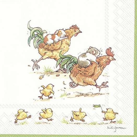 Χαρτοπετσέτα για decoupage, Run rooster run, 1 τεμ.