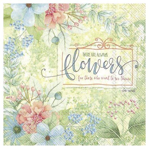 Χαρτοπετσέτα για Decoupage,  There are always flowers, 1τεμ.