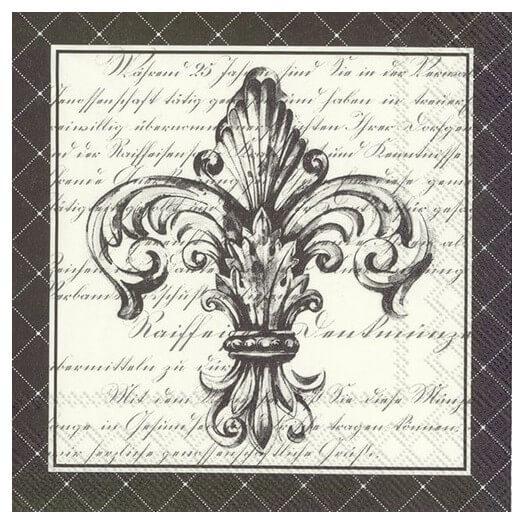 Χαρτοπετσέτα για Decoupage, French fleur de lis black, 1τεμ.