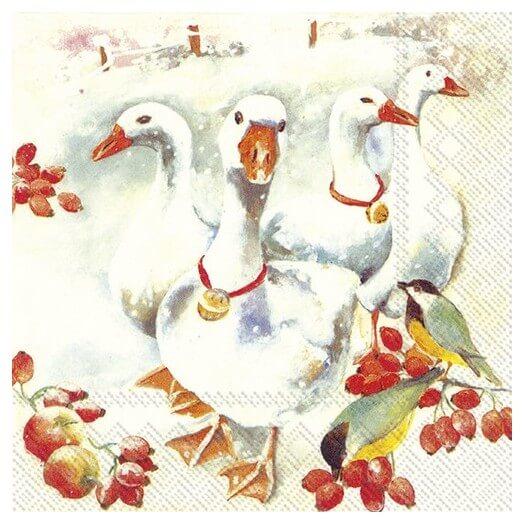 Χαρτοπετσέτα για decoupage, Winter goose