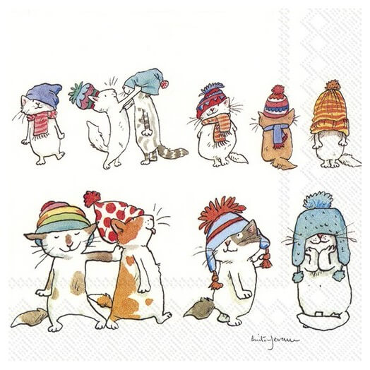 Χαρτοπετσέτα για decoupage, Cats with hats