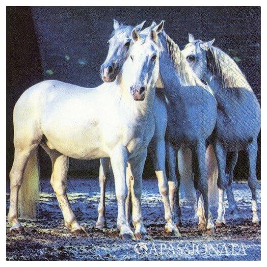 Χαρτοπετσέτα για decoupage, White Horses