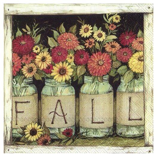 Χαρτοπετσέτα για decoupage, Fall mason jars