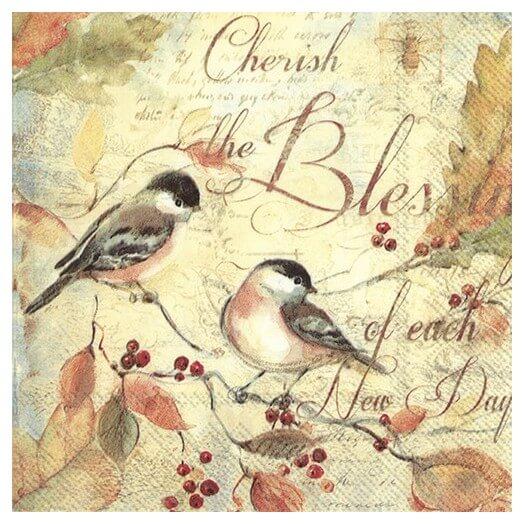 Χαρτοπετσέτα για decoupage, Cherish the blessings...