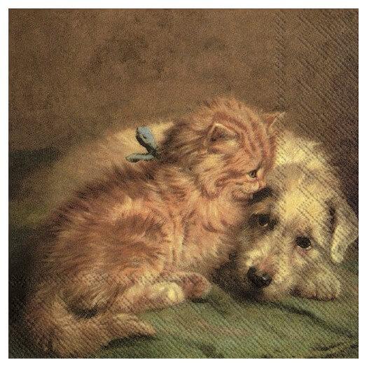 Χαρτοπετσέτα για decoupage,  Dog and cat