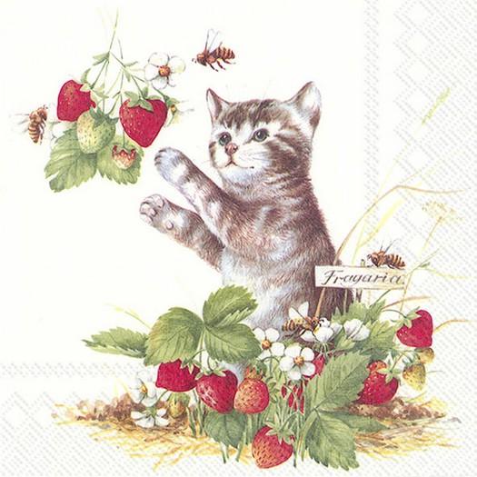 Χαρτοπετσέτα για decoupage, Kitty & Strawberries, 1 τεμ.
