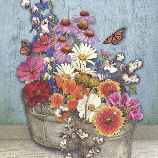 Χαρτοπετσέτα για decoupage, Flowers at home, 1 τεμ.