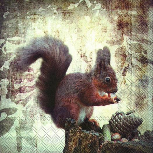 Χαρτοπετσέτα για decoupage, Squirrel's lunch, 1 τεμ.