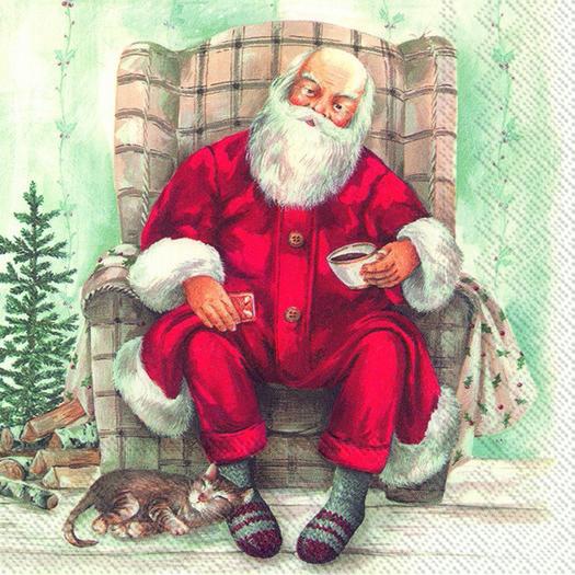 Χαρτοπετσέτα για decoupage, Santa's coffee break, 1 τεμ.