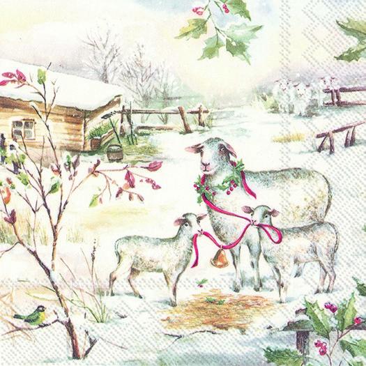 Χαρτοπετσέτα για decoupage, Sheeps in the snow, 1 τεμ.