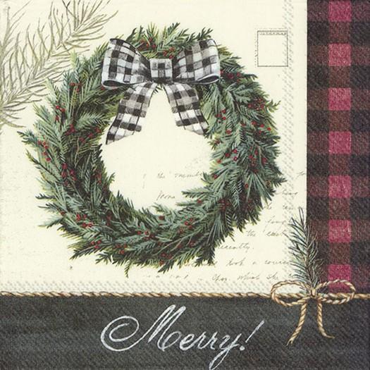 Χαρτοπετσέτα για decoupage, Cozy knit holiday wreath, 1 τεμ.