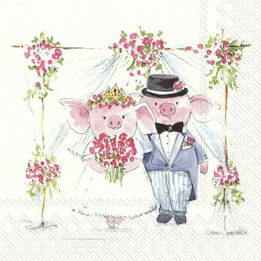 Χαρτοπετσέτα για decoupage, Piggy Wedding, 1 τεμ.