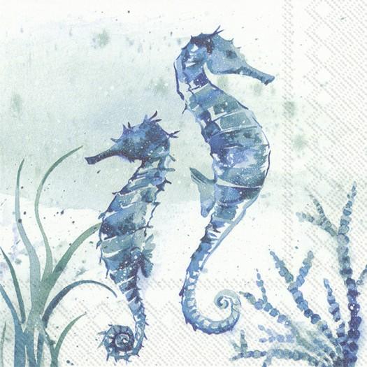 Χαρτοπετσέτα για decoupage, Aqua World Seahorse, 1 τεμ.