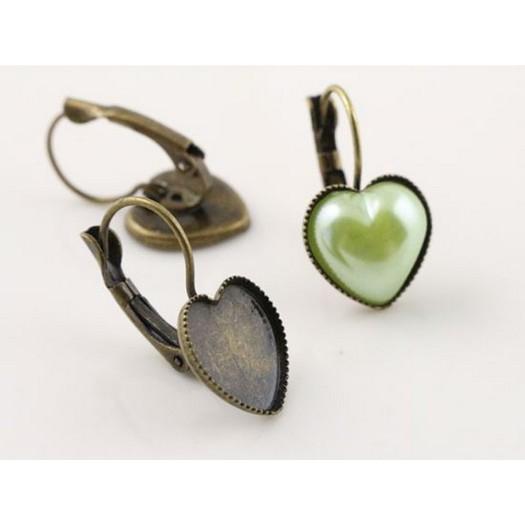 Σκουλαρίκια μεταλλικά καρδιά bronze 12mm, 8 τεμ.