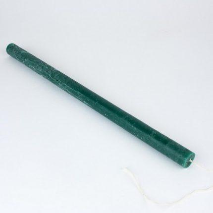 Λαμπάδα κερί rustic στρογγυλή 31x1,5cm, πράσινο σκούρο