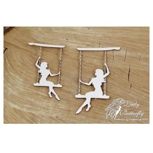 Διακοσμητικό Chipboard, Lady Butterfly, Swing, 2 τεμ.