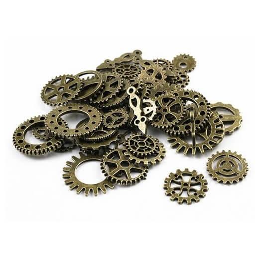Antique Bronze metal gear mix - σετ  /- 45 τεμ