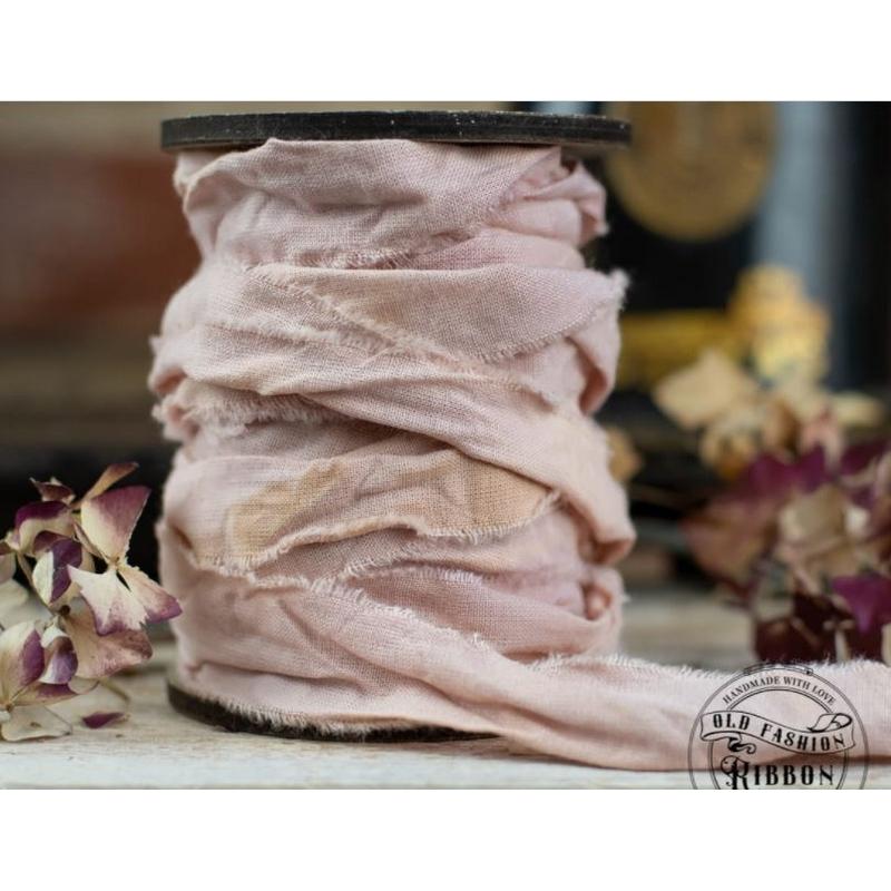 Κορδέλα vintage linen, Vintage Pink, 1,2m