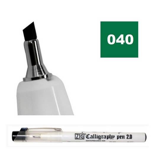 Μαρκαδόρος ZIG Calligraphy Oblique (λοξή μύτη), 2.0mm, Green