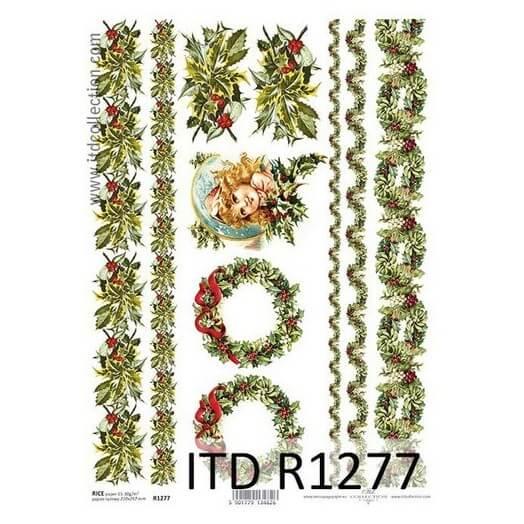 Ριζόχαρτο ITD, 21x29cm, Χριστουγεννιάτικα στεφάνια και γιρλάντες, R1277