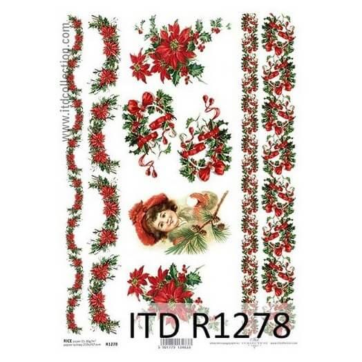 Ριζόχαρτο ITD 21x29cm, Χριστουγεννιάτικες γιρλάντες και κοπέλα, R1278