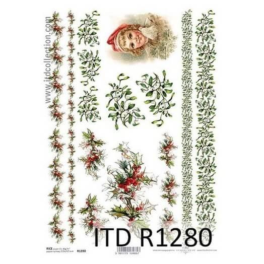 Ριζόχαρτο ITD, 21x29cm, Γιρλάντες με γκι, R1280