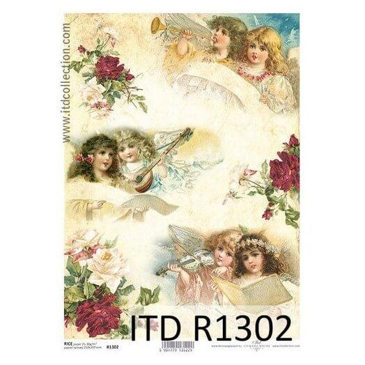 Ριζόχαρτο ITD, 21x29cm, Χριστουγεννιάτικα αγγελάκια,R1302