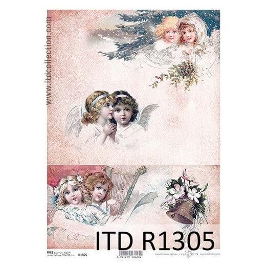 Ριζόχαρτο ITD Χριστουγεννιάτικα αγγελάκια, 21x29cm, R1305
