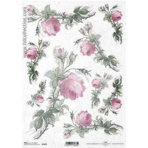 Ριζόχαρτο ITD, Ροζ τριαντάφυλλα, 21x29cm, R1405