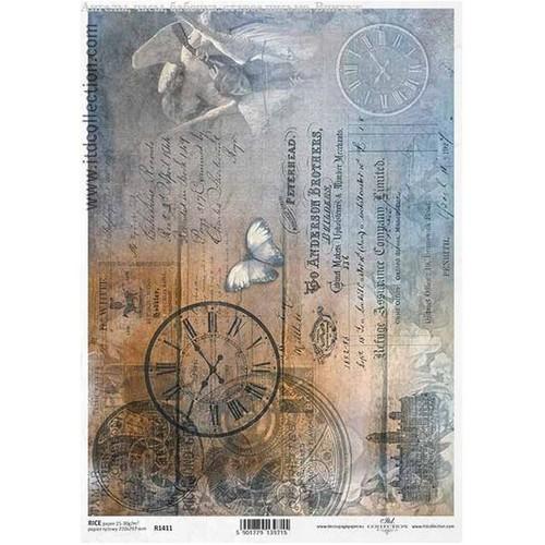 Ριζόχαρτο ITD, Ρολόι και πεταλούδα, 21x29cm, R1411