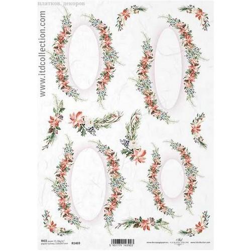 Ριζόχαρτο ITD Collection, Γιρλάντες λουλουδιών, 21x29cm, R1469