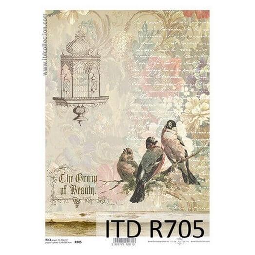 Ριζόχαρτο ITD, 21x29cm, Πουλάκια στο κλαδί, R705