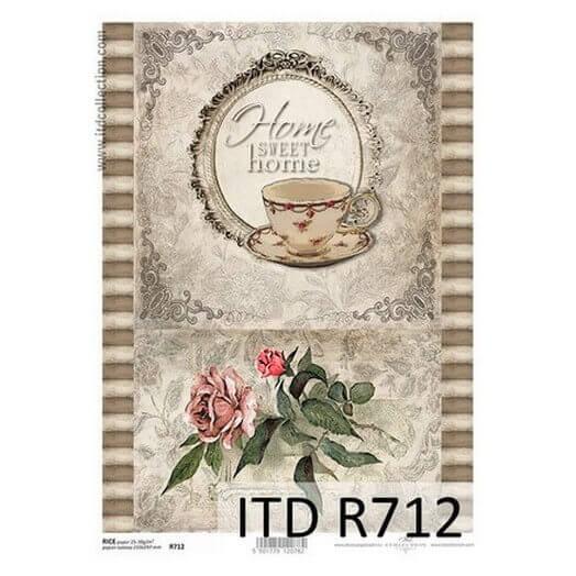 Ριζόχαρτο ITD, 21x29cm, Φλιτζάνι και λουλούδια, R712