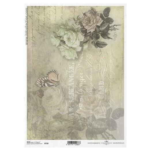 Ριζόχαρτο ITD, 21x29cm, Λουλούδια και πεταλούδα, R720