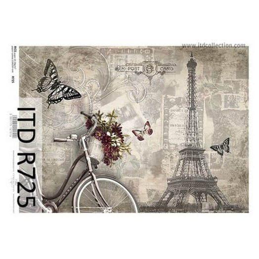 Ριζόχαρτο ITD, 21x29cm, Πύργος του Άιφελ και ποδήλατο, R725
