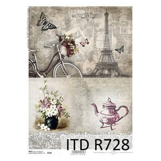 Ριζόχαρτο ITD, 21x29cm, Παρίσι και καφές, R728