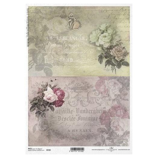 Ριζόχαρτο ITD, 21x29cm, Λουλούδια και backgound, R729