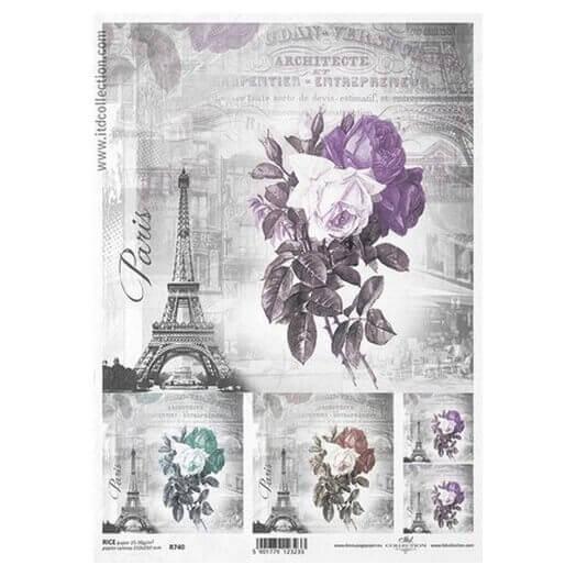 Ριζόχαρτο ITD, 21x29cm, Πύργος του Άιφελ και λουλούδια, R740