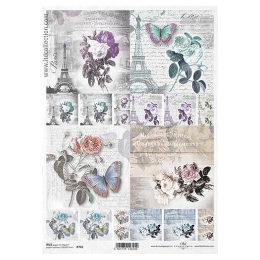 Ριζόχαρτο ITD, 21x29cm, Παρίσι και λουλούδια, R741