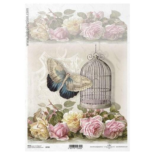 Ριζόχαρτο ITD, 21x29cm, Κλουβί, λουλούδια και πεταλούδα, R759