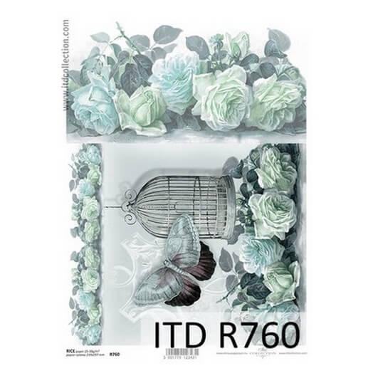 Ριζόχαρτο ITD, 21x29cm, Κλουβί και λουλούδια, R760